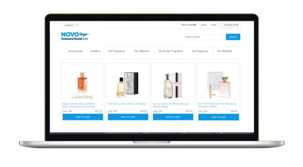 Novo Airline Pre-Order e-commerce website