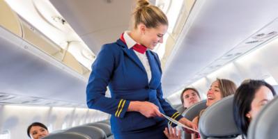 Novo - Crew / Flight Attendant serving passengers